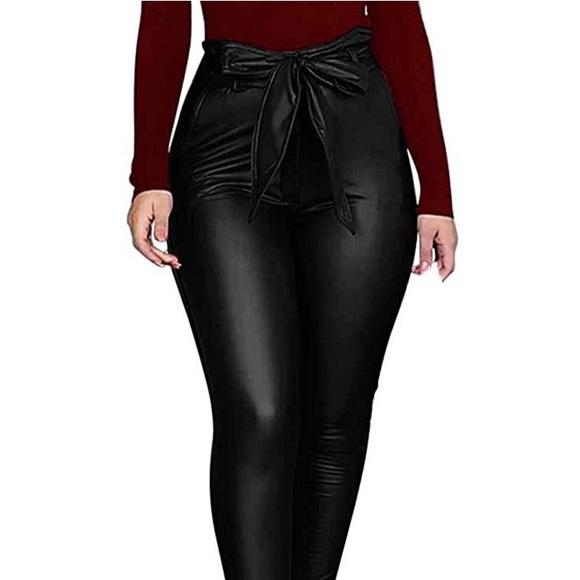 0938 Women Leggings Leather High Waist Skinny Snak